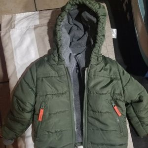 Baby boys 3 layer winter coat ~ Olive green